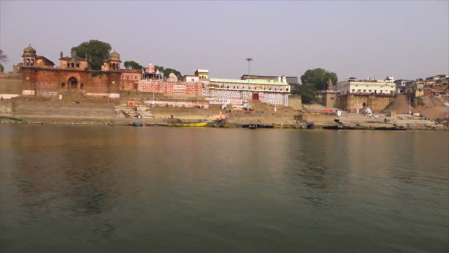view of chet singh and niranjani ghats, the ganges - fortress stock videos & royalty-free footage