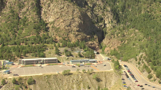 MS TD ZI AERIAL View of cheyenne mountain and entrance to mountain / Colorado, United States