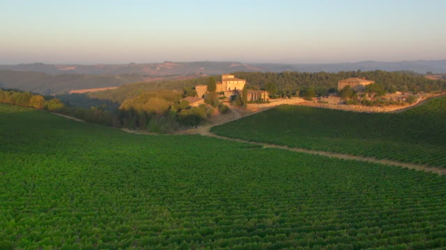 WS AERIAL View of Chianti vinyards and traditional tuscan country house at Castello di Brolio / Siena, Tuscany, Italy