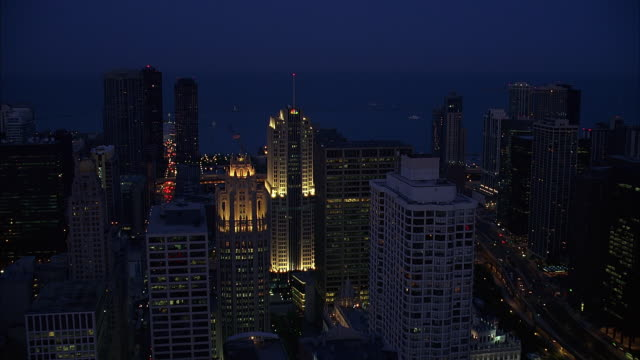 aerial view of chicago downtown at dusk / illinois, usa - great lakes stock videos & royalty-free footage