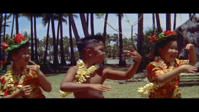 ms view of children doing hula on lawn / honolulu, hawaii, united states - hawaiianische kultur stock-videos und b-roll-filmmaterial