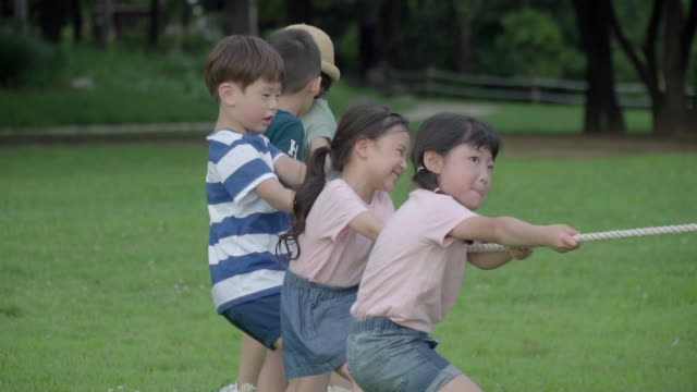 view of children doing tug-of-war (game: pulling a rope) in summer at seoulforest (the third largest park in seoul city) - 50 seconds or greater stock videos & royalty-free footage