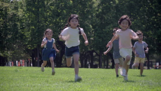 view of children running on the lawn in summer at seoulforest (the third largest park in seoul city) - five people stock videos and b-roll footage