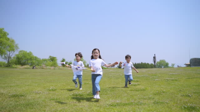 view of children running with the south korean flag in the park - south korean flag stock videos & royalty-free footage