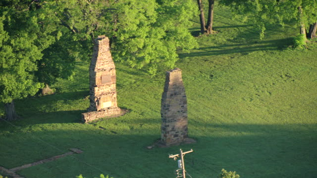 ws aerial view of chimney / fort gibson, oklahoma, united states - tree fort stock videos & royalty-free footage