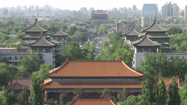 view of chinese architecture buildings in beijing china - pagode stock-videos und b-roll-filmmaterial