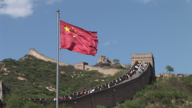 View of Chinese flag flapping in Beijing China