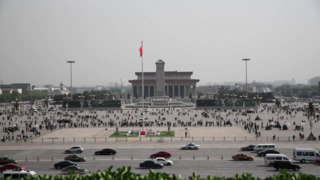 ws view of chinese flying in air at tiananmen square / beijing, china - tiananmen square stock videos and b-roll footage