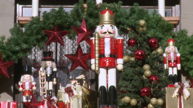 ms view of christmas decoration with toy / rothenburg o.d. tauber, bavaria, germany - 雑貨点の映像素材/bロール