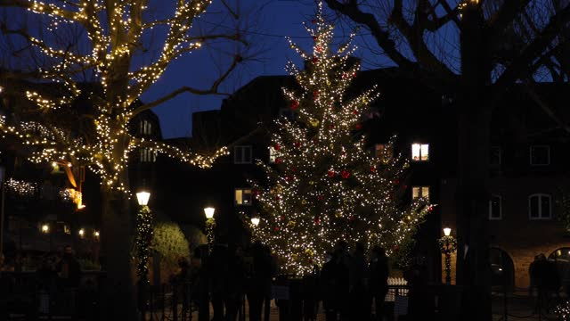 view of christmas lights at st katherine's dock and the dickens inn on december 27, 2020 in london, england . - christmas decoration stock videos & royalty-free footage