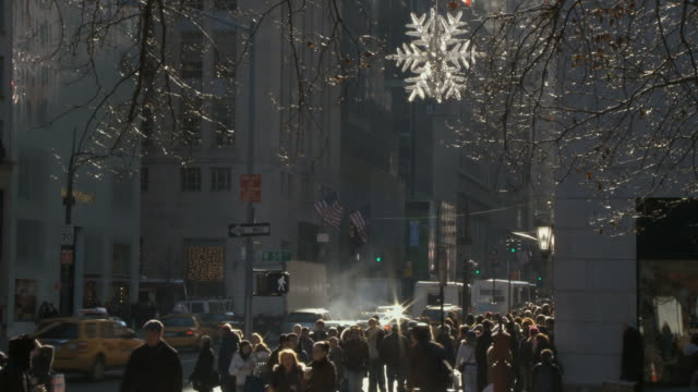 WS View of Christmas shoppers on 5th Ave / New York City, New York, USA