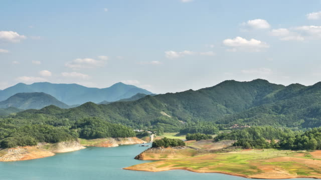 vídeos y material grabado en eventos de stock de view of chungjuho lake (popular tourist attraction) and surrounding mountain range - corea