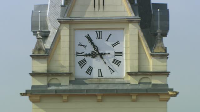 ms zo view of church and clock/ ljubljana, slovenia - romersk siffra bildbanksvideor och videomaterial från bakom kulisserna