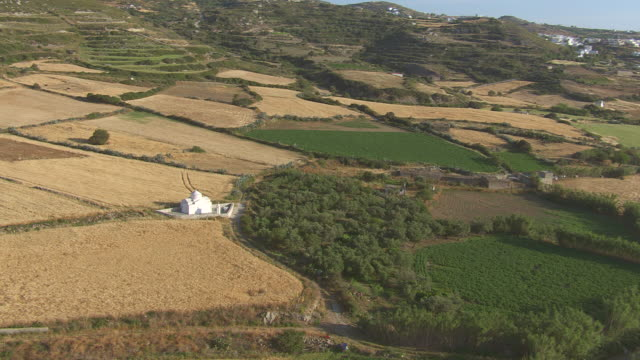WS AERIAL View of church and landscape with city of naxos / Naxos, Cyclades, Greece