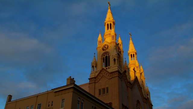 ms t/l view of church at dusk in north beach / san francisco, california, united states - north beach san francisco stock videos and b-roll footage