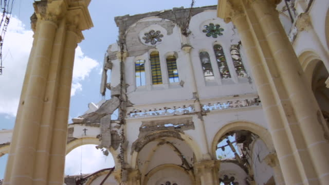 ms pan view of church destroyed after 2010 earthquake / haiti - haiti stock videos & royalty-free footage