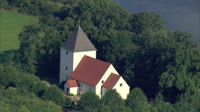 aerial ms zo view of church / flensburg geltinger birk, schleswig-holstein, germany - schleswig holstein stock videos & royalty-free footage