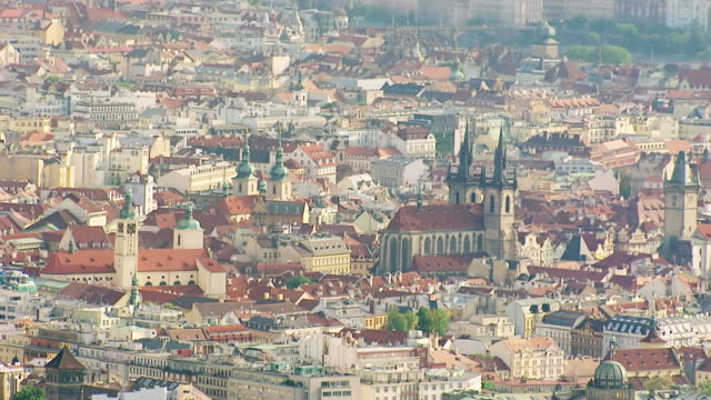 WS AERIAL View of church in city / Prague, Czech Republic