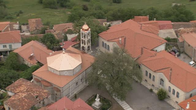 WS AERIAL View of  church in Dimitsana mountain and village in Arcadia Peloponnese / Dimitsana, Peloponissos, Greece