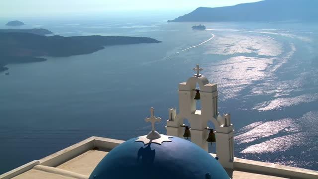 WS View of church in Firostefani with Ocean / Santorini, Cyclades, Greece