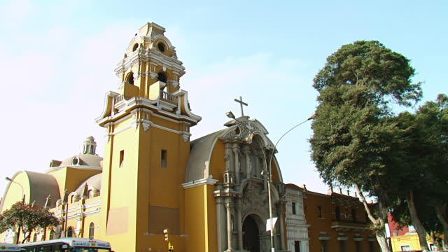 ws tu view of church / lima, peru - lima peru stock videos and b-roll footage