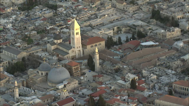 WS ZI AERIAL View of church of Holy Sepulchre / Jerusalem, Israel