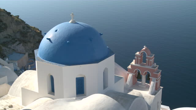 ms view of church / santorini, cyclades islands, greece - santorini stock videos & royalty-free footage