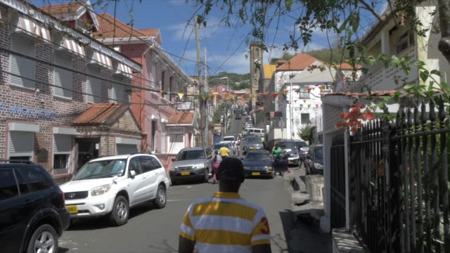 view of church street and cathedral of the immaculate conception, st. george's, grenada, windward islands, west indies, caribbean, central america - st. george's grenada stock videos and b-roll footage