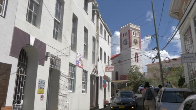 view of church street and st. george's parish church, st. george's, grenada, windward islands, west indies, caribbean, central america - st. george's grenada stock videos and b-roll footage