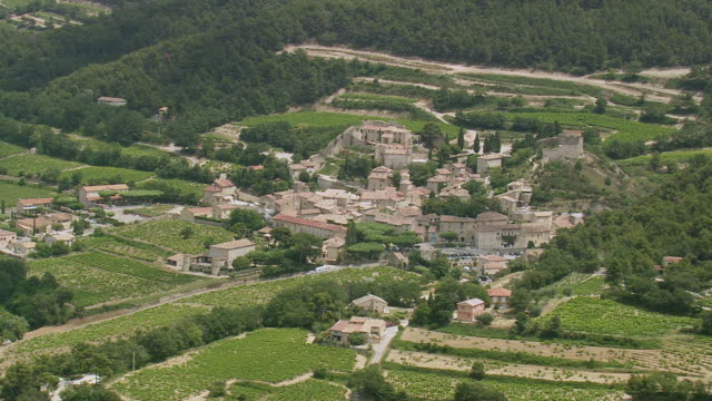 WS AERIAL View of Cigondas village / Provence Alpes Cote D'Azur, France