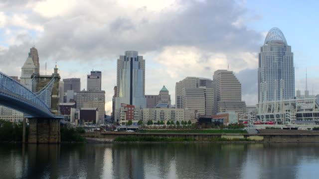 WS View of Cincinnati skyline and Ohio River / Cincinnati, Ohio, United States