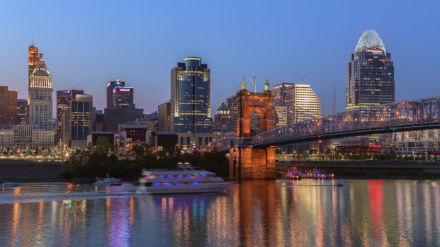 T/L View of Cincinnati skyline & Roebling Suspension Bridge at dusk / Cincinnati, Ohio, USA