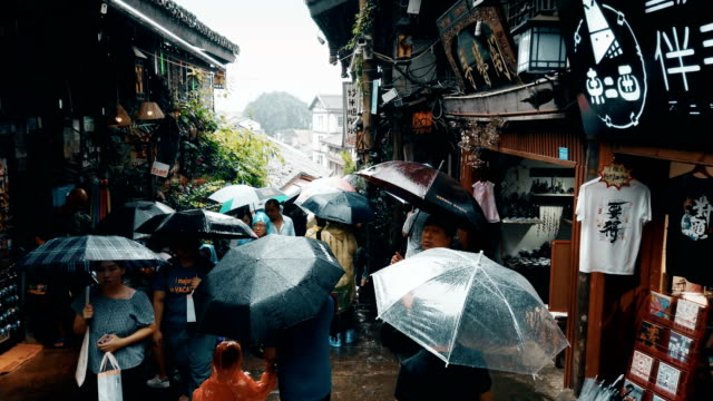 view of ciqikou ancient town,chongqing,china. - raindrop stock videos & royalty-free footage