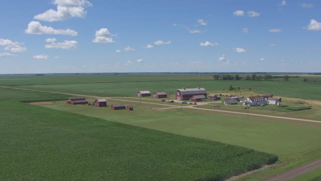 WS AERIAL TS DS View of Circle Bagg Bonanza Farm / Mooreton, North Dakota, United States