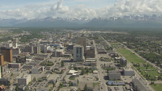 ws aerial ds view of circle downtown buildings and conoco phillips building / anchorage, alaska, united states - anchorage alaska stock videos & royalty-free footage