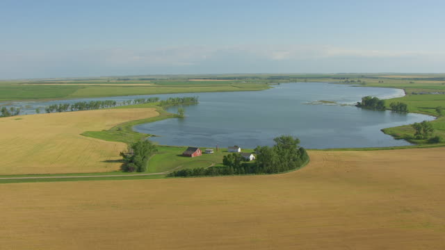 ws aerial ts ds view of circle lawrence welk homestead / strasburg, north dakota, united states - simple living stock videos & royalty-free footage