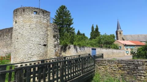 ws view of citadelle with church / rodemack, lorraine, france - lorraine stock-videos und b-roll-filmmaterial