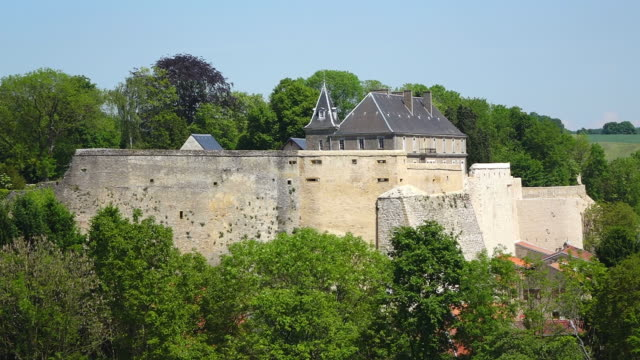 ws view of citadelle with surrounding by trees at village / rodemack, lorraine, france - lorraine stock-videos und b-roll-filmmaterial