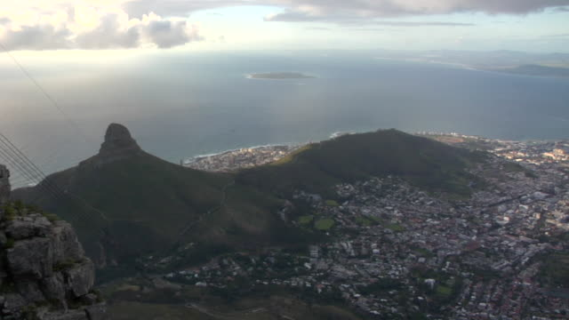 AERIAL, View of city along coastline, Cape Town, South Africa