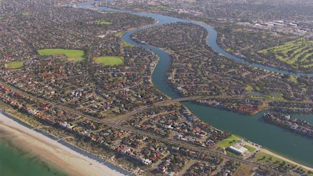 ws aerial view of city and beach / adelaide, south australia, australia - south australia bildbanksvideor och videomaterial från bakom kulisserna