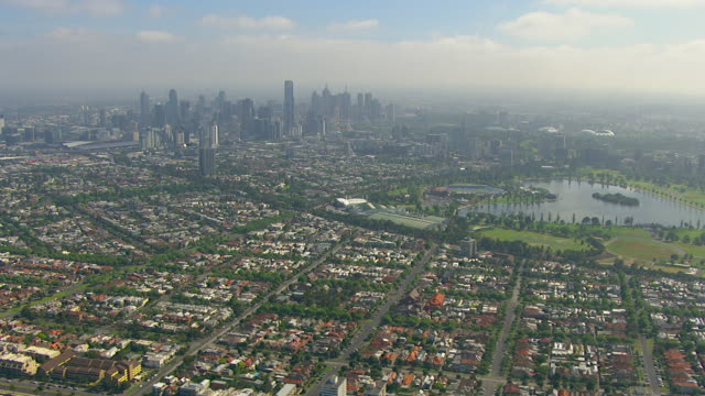 WS AERIAL View of city and lake/ Melbourne, Victoria, Australia