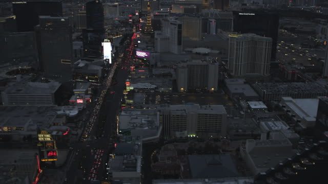 WS AERIAL View of City and MGM Grand / Las Vegas, Nevada, United States