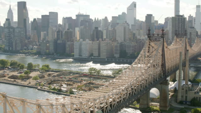AERIAL MS ZI View of city and Queensbury bridge/ New York City