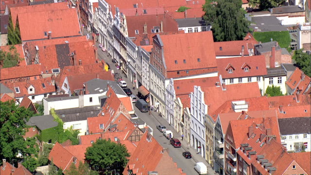 ws aerial view of city and street / luebeck, schleswig-holstein, germany - lübeck stock-videos und b-roll-filmmaterial