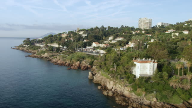 WS AERIAL POV View of city and surrounding area / Antibes, Cannes, France