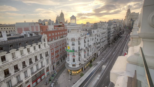 WS T/L View of city and traffic on street roads / Barcelona, Spain