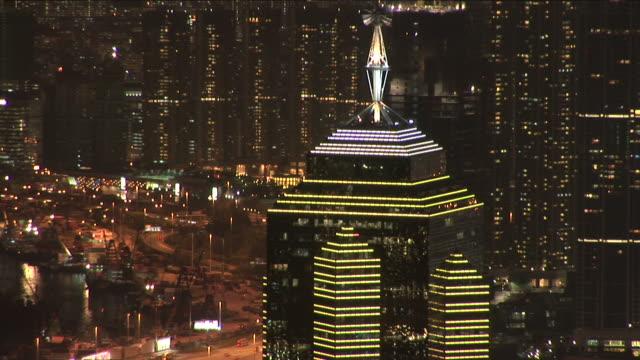 View of City at night in Hong Kong China