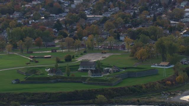 ws aerial zi view of city at shoreline of lake ontario / new york, united states - lake ontario bildbanksvideor och videomaterial från bakom kulisserna