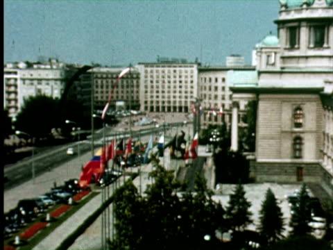 MS ZO WS View of city, Belgrade, Yugoslavia / AUDIO