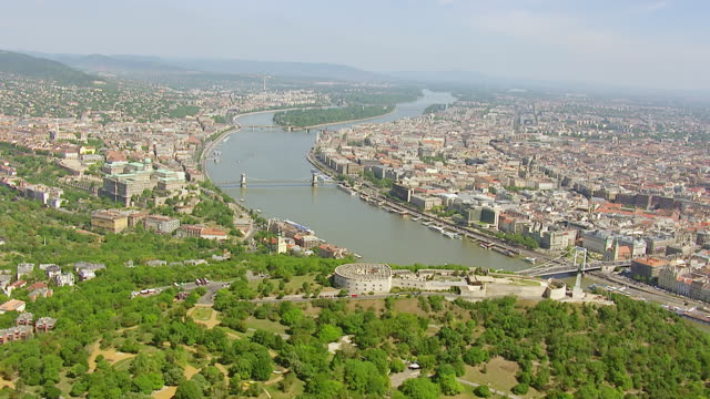 ws aerial view of city capital / budapest, hungary - budapest stock videos & royalty-free footage
